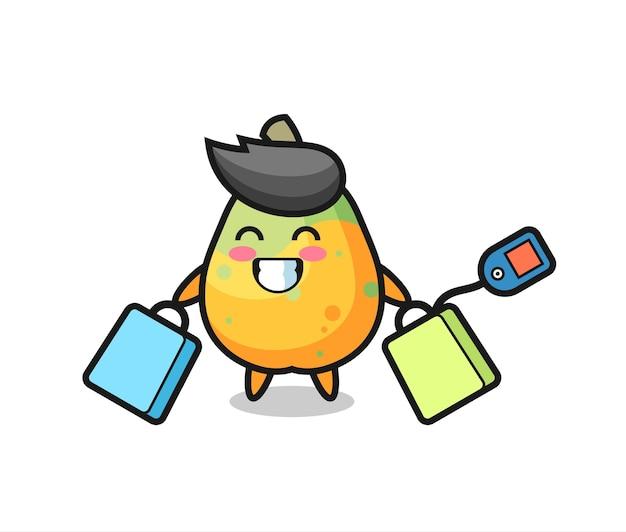 Cartone animato mascotte papaya con in mano una borsa della spesa, design in stile carino per t-shirt, adesivo, elemento logo