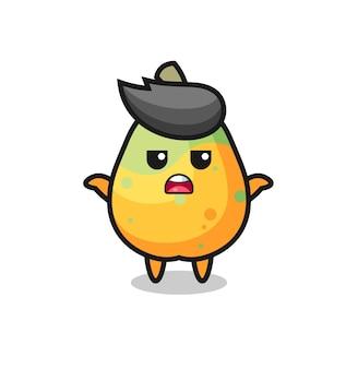 Personaggio mascotte papaya che dice non lo so, design in stile carino per maglietta, adesivo, elemento logo