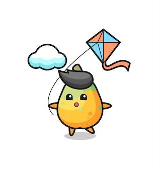 L'illustrazione della mascotte della papaya sta giocando a un aquilone, un design in stile carino per maglietta, adesivo, elemento logo