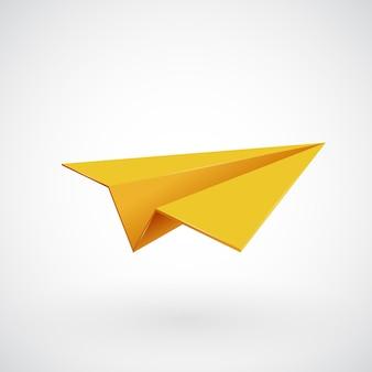 Aeroplano di carta, icona dell'aereo 3d,
