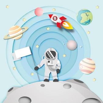 Paper art of astronaut on the moon nello spazio