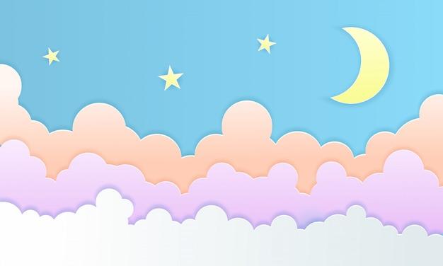 Arte di carta nuvole colorate soffici, luna e stelle di sfondo