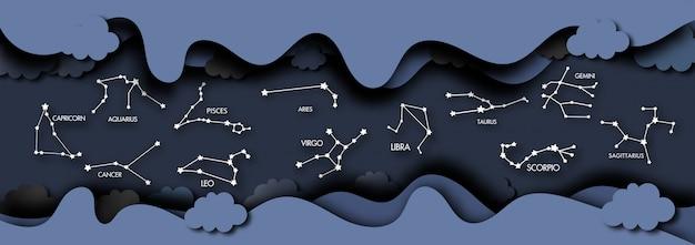 Arte di carta di cosmos e zodiac background