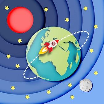 Paper art of the earth nello spazio e nello spazio del razzo che vola intorno