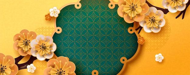 Banner di fiori di carta artistica con colori oro e turchese