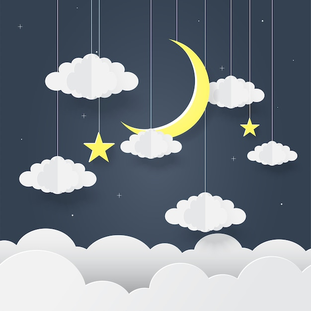 Paper art of goodnight e dolce sogno