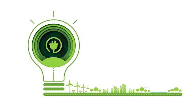 L'arte cartacea della tecnologia dell'ecologia verde e del concetto di natura consente di risparmiare energia concetto di idea creativa