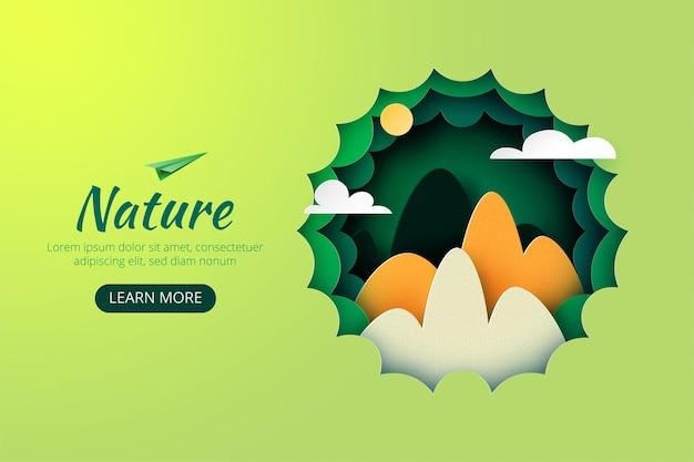 Arte di carta della natura verde montagne verdi con fondo del modello del sito web della pagina di destinazione di concetto di esplosione e avventura. .