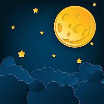 Arte della carta mezza luna raggi soffici nuvole e stelle a mezzanotte