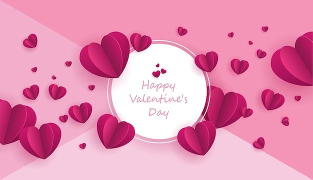 L'arte della carta dell'amore e del giorno di san valentino con il cuore di carta sul cielo blu può essere utilizzata per lo sfondo