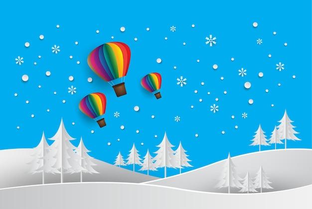 Paper art buon natale e felice anno nuovo palloncino di neve