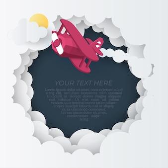 Arte di carta dell'aereo che vola sopra la nuvola, concetto di arte di carta e idea di turismo,