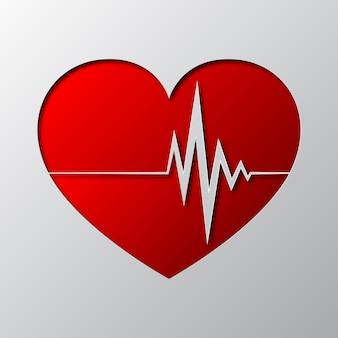 Arte di carta del cuore rosso e simbolo del battito cardiaco isolato. l'icona del cuore è tagliata dalla carta.