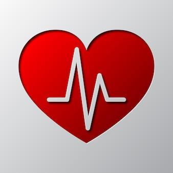 Arte di carta del cuore rosso e simbolo del battito cardiaco isolato