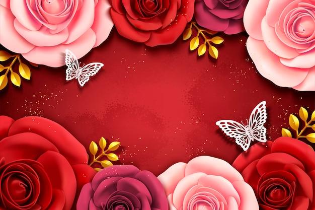 Priorità bassa delle rose di arte di carta nell'illustrazione 3d