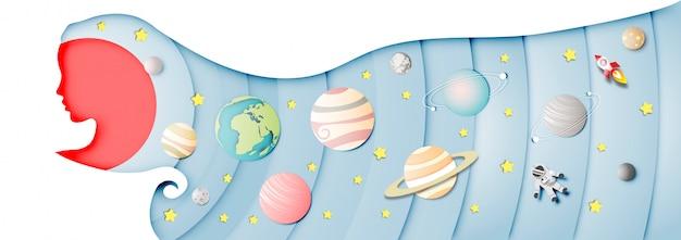 Arte di carta di sfondo del sistema solare in testa di signora