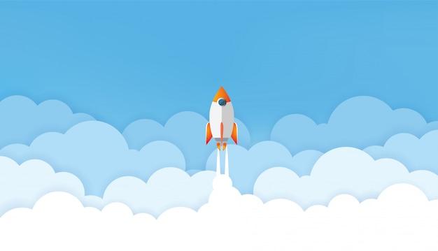 Arte di carta del concetto di progetto startup. illustrazione vettoriale di business design piatto