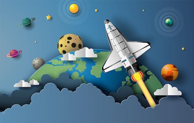 Stile di arte di carta della navetta spaziale che decolla nello spazio, concetto di avvio, illustrazione in stile piatto.