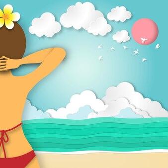 Fondo della spiaggia di estate di arte di carta nel vettore di stile del taglio della carta