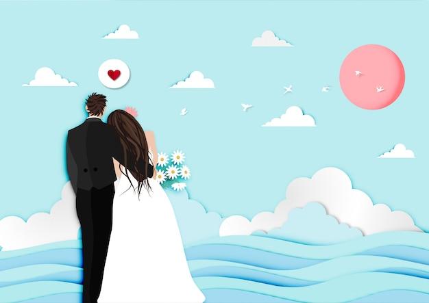 Arte di carta del festival di san valentino con il vettore del fondo di vista del tramonto e della coppia sposata