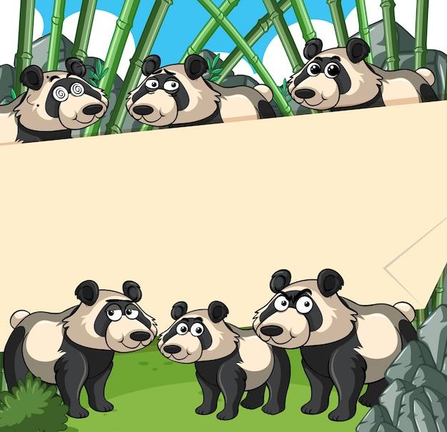 Sfondo di carta con panda in foresta di bambù