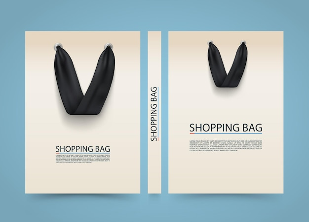 Copertina del sacchetto di carta, banner pubblicitario della borsa della spesa, libro in formato a4, illustrazione vettoriale