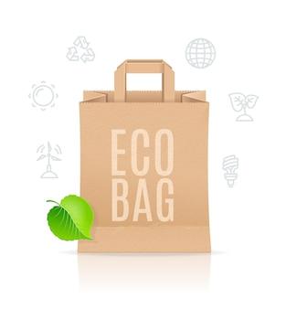 Concetto di vendita di sacchetto di carta eco.