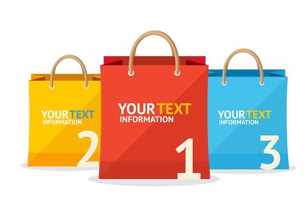 Banner di opzione vendita sacchetto di carta isolato su priorità bassa bianca.