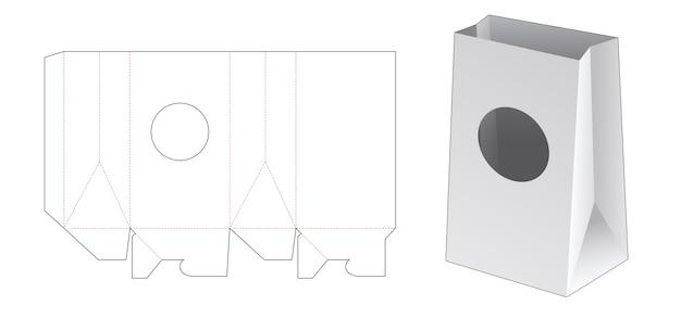 Sacchetto di carta con sagoma fustellata finestra circolare
