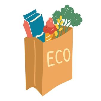 Sacchetto di carta con cibo banner consegna di prodotti locali diversi prodotti alimentari e bevande