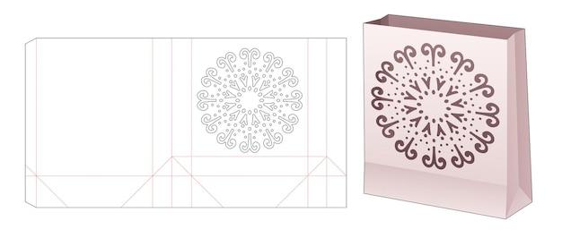 Sacchetto di carta con modello fustellato stencil mandala