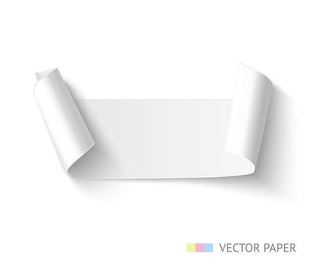 Striscione in carta con lati curvi curvi. nastro di carta realistico.