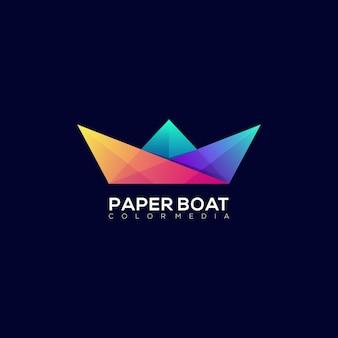 Modello moderno di logo gradiente colorato barca di carta