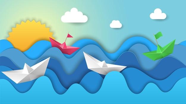 Barche di carta all'alba. alba di origami, regata nelle onde dell'oceano. navi colorate nel paesaggio di vettore del mare. illustrazione alba mare, viaggio sull'acqua paesaggio marino
