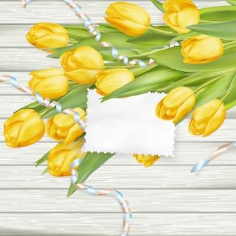 Carta di carta con tulipani.