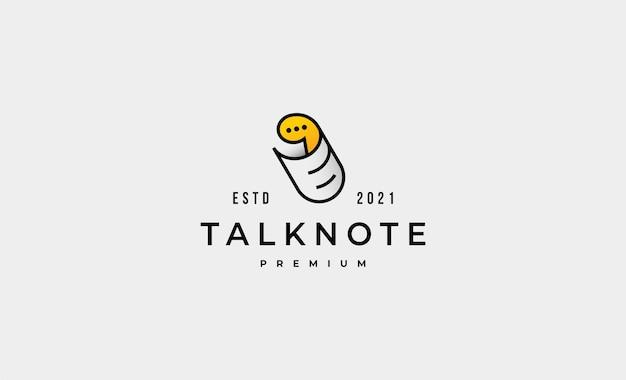 Illustrazione dell'icona di vettore di progettazione di logo di chiacchierata di carta