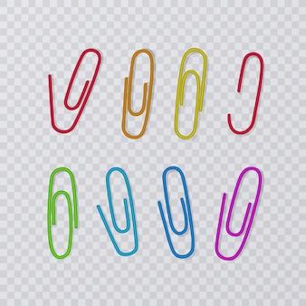 Clip di carta isolate. collezione colorata
