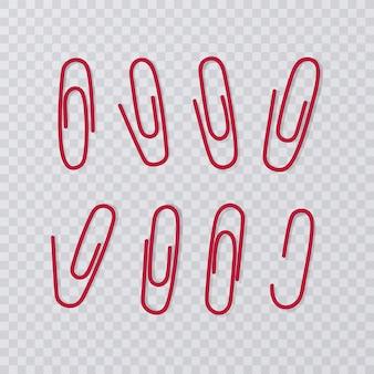 Clip di carta isolate. raccolta rossa