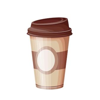 Illustrazione piana della tazza di caffè di carta