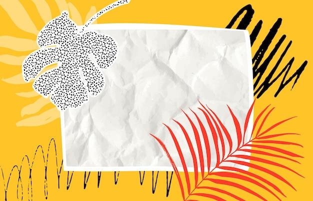 Sfondo di collage di carta carta stropicciata e foglia tropicale copyspace vuoto su orizzontale giallo