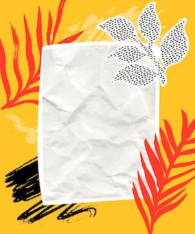 Collage di carta con pennellate arancioni e nere copyspace di foglie tropicali di carta su texture gialla