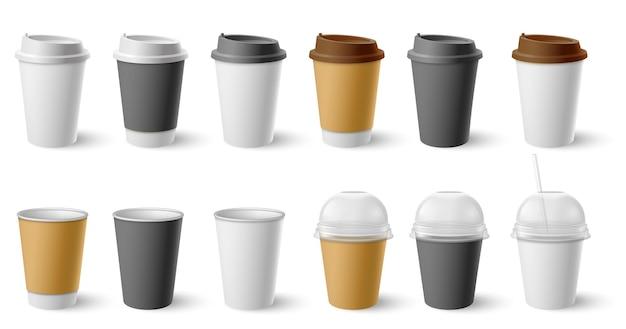 Bicchiere di carta. tazze in cartone con tappo e tazze per caffè e tè caldi. il caffè realistico nero, bianco, marrone beve l'insieme di vettore del modello dei pacchetti di eco. bevanda contenitore per caffè, caffè o tè caldo illustrazione
