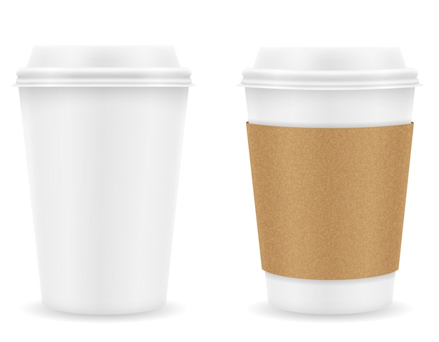 Bicchiere di carta per caffè su bianco