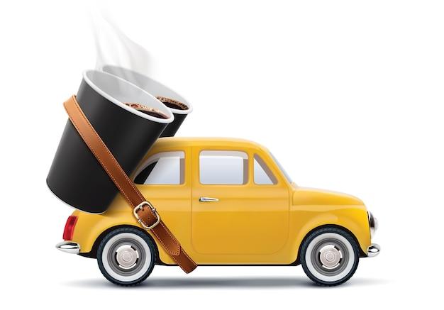 Bicchieri di carta di caffè sull'automobile isolata su bianco