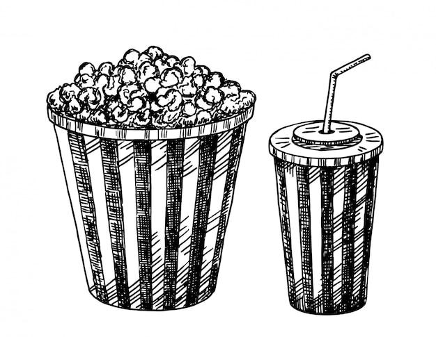Bicchieri di carta con bevande e popcorn. popcorn, soda da asporto. cinema in stile schizzo. illustrazione.