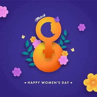Carta tagliata 8 numero di marzo con segno di sesso femminile