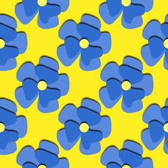 Modello senza cuciture delle margherite blu del taglio della carta. bellissimo sfondo festivo romantico alla moda, fiori in fiore 3d. carta da parati floreale elegante trama moderna. illustrazione vettoriale. taglia la carta.