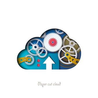 Nuvola tagliata in carta nuvola colorata con meccanismo a ingranaggi 3d