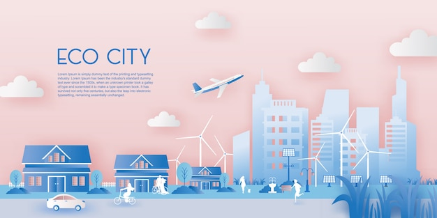 Taglio della carta del concetto di città eco