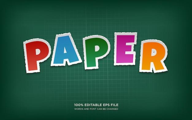 Effetto stile di testo modificabile taglio carta